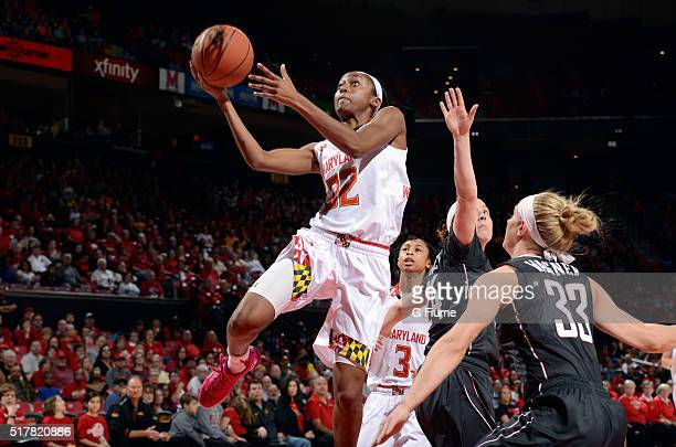 Shatori WalkerKimbrough of the Maryland Terrapins drives to the hoop against the Minnesota Golden Gophers at the Xfinity Center on February 28 2016...