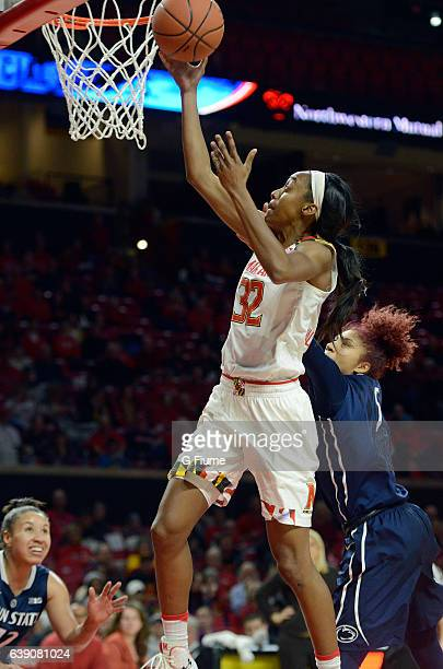 Shatori WalkerKimbrough of the Maryland Terrapins drives to the hoop against the Penn State Lady Lions at Xfinity Center on January 11 2017 in...