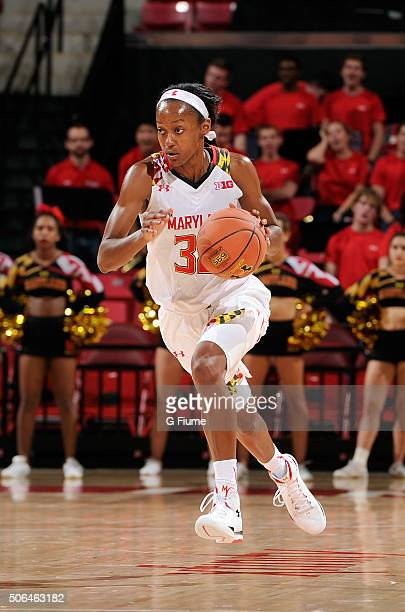 Shatori WalkerKimbrough of the Maryland Terrapins handles the ball against the Syracuse Orange at the Xfinity Center on December 2 2015 in College...