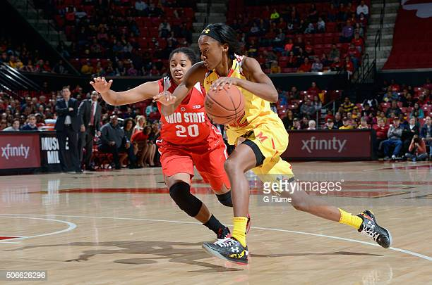 Shatori WalkerKimbrough of the Maryland Terrapins handles the ball against the Ohio State Buckeyes at the Xfinity Center on January 2 2016 in College...