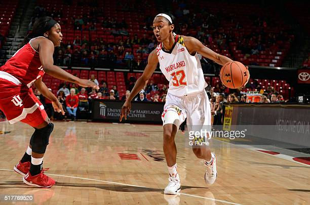 Shatori WalkerKimbrough of the Maryland Terrapins handles the ball against the Indiana Hoosiers at the Xfinity Center on January 30 2016 in College...