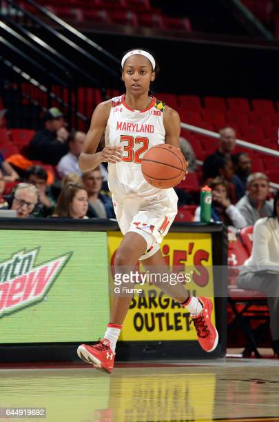 Shatori WalkerKimbrough of the Maryland Terrapins handles the ball against the Illinois Fighting Illini at Xfinity Center on February 9 2017 in...