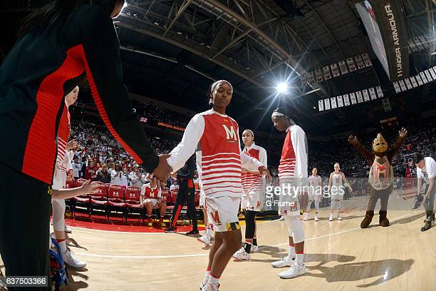 Shatori WalkerKimbrough of the Maryland Terrapins is introduced before the game against the Connecticut Huskies at Xfinity Center on December 29 2016...