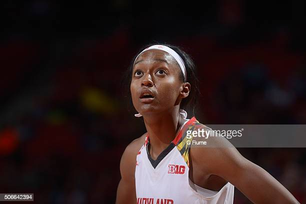 Shatori WalkerKimbrough of the Maryland Terrapins rests during a break in the game against the Northwestern Wildcats at the Xfinity Center on January...