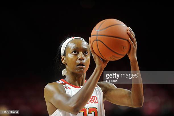 Shatori WalkerKimbrough of the Maryland Terrapins shoots a free throw against the Maryland Eastern Shore Lady Hawks at Xfinity Center on November 16...