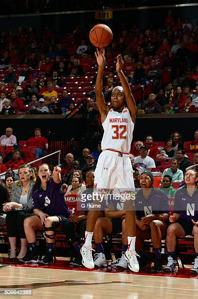 Shatori WalkerKimbrough of the Maryland Terrapins shoots the ball against the Northwestern Wildcats at the Xfinity Center on January 17 2016 in...