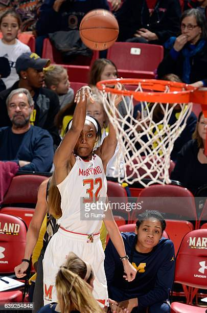 Shatori WalkerKimbrough of the Maryland Terrapins shoots the ball against the Michigan Wolverines at Xfinity Center on January 19 2017 in College...