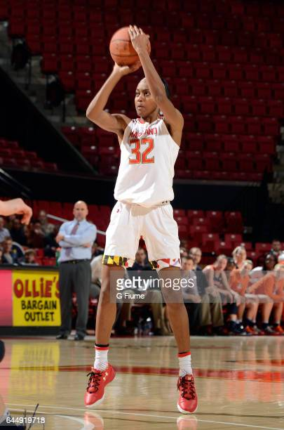 Shatori WalkerKimbrough of the Maryland Terrapins shoots the ball against the Illinois Fighting Illini at Xfinity Center on February 9 2017 in...
