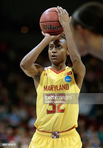 Shatori WalkerKimbrough of the Maryland Terrapins takes a free throw against the Tennessee Lady Vols in the 2015 NCAA Division I Women's Basketball...