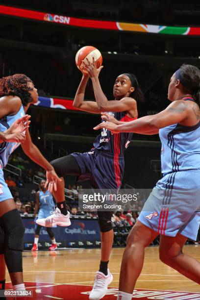 Shatori WalkerKimbrough of the Washington Mystics drives to the basket against the Atlanta Dream on June 4 2017 at Verizon Center in Washington DC...