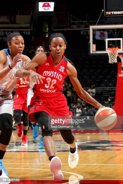 Shatori WalkerKimbrough of the Washington Mystics drives to the basket against the Minnesota Lynx on June 9 2017 at Verizon Center in Washington DC...