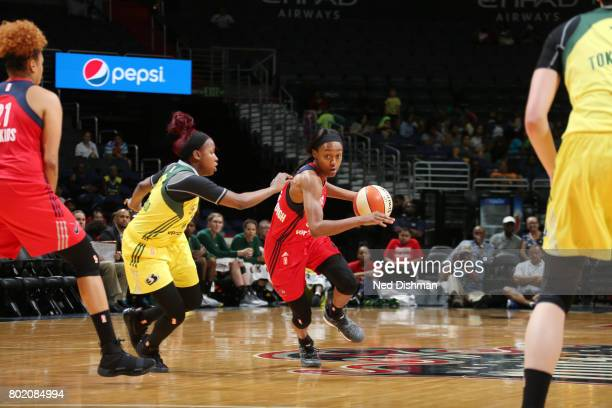 Shatori WalkerKimbrough of the Washington Mystics drives to the basket against the Seattle Storm on June 27 2017 at the Verizon Center in Washington...