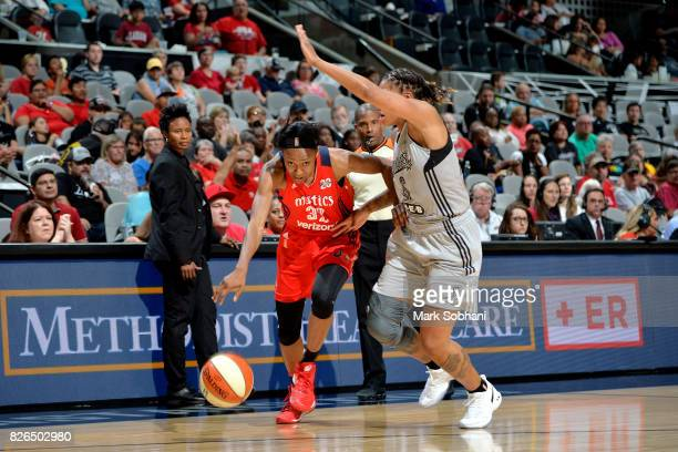 Shatori WalkerKimbrough of the Washington Mystics drives to the basket during the game against the San Antonio Stars during a WNBA game on August 4...