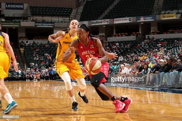 Shatori WalkerKimbrough of the Washington Mystics drives to the basket during the game against the Indiana Fever during a WNBA game on August 20 2017...
