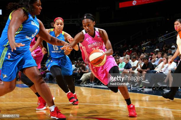 Shatori WalkerKimbrough of the Washington Mystics drives to the basket during the game against the Dallas Wings during a WNBA game on August 26 2017...