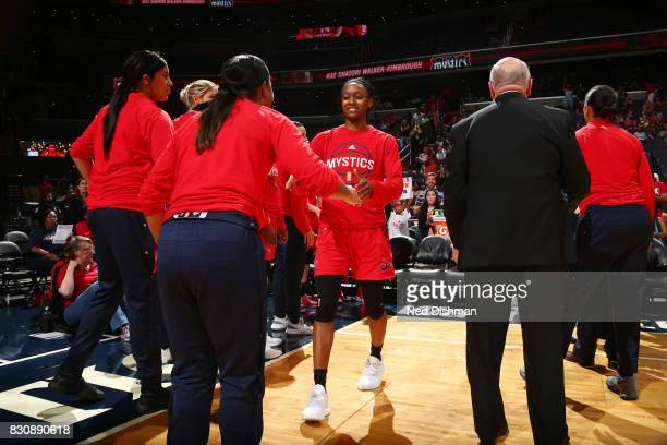 Shatori WalkerKimbrough of the Washington Mystics gets introduced before the game against the Indiana Fever on August 12 2017 at the Verizon Center...
