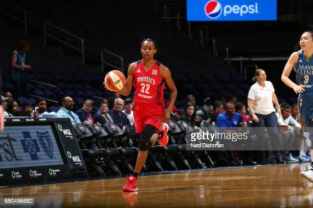 Shatori WalkerKimbrough of the Washington Mystics handles the ball against the Minnesota Lynx on May 8 2017 at Verizon Center in Washington DC NOTE...