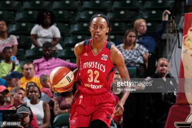 Shatori WalkerKimbrough of the Washington Mystics handles the ball during the game against the Indiana Fever during a WNBA game on July 14 2017 at...