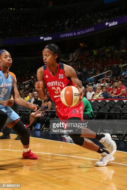 Shatori WalkerKimbrough of the Washington Mystics handles the ball against the Atlanta Dream on July 19 2017 at the Verizon Center in Washington DC...