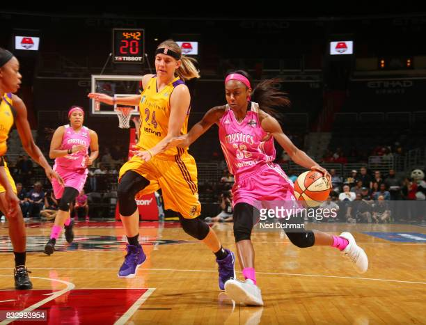 Shatori WalkerKimbrough of the Washington Mystics handles the ball against the Los Angeles Sparks on August 16 2017 at the Verizon Center in...