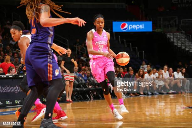Shatori WalkerKimbrough of the Washington Mystics handles the ball against the Phoenix Mercury on August 18 2017 at the Verizon Center in Washington...