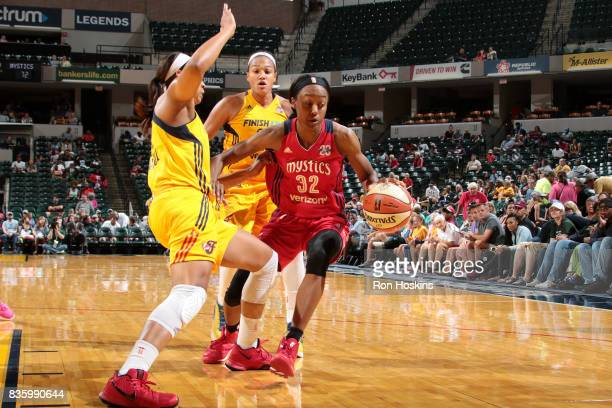 Shatori WalkerKimbrough of the Washington Mystics handles the ball during the game against the Indiana Fever during a WNBA game on August 20 2017 at...