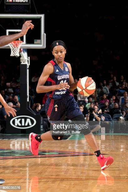 Shatori WalkerKimbrough of the Washington Mystics handles the ball during the game against the New York Liberty in a WNBA game on August 25 2017 at...