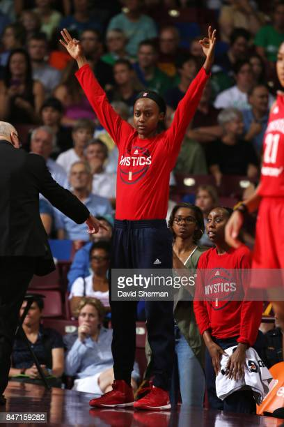Shatori WalkerKimbrough of the Washington Mystics reacts during the game against the Minnesota Lynx in Game Two of the Semifinals during the 2017...