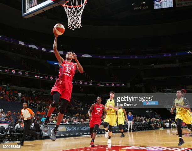 Shatori WalkerKimbrough of the Washington Mystics shoots a lay up against the Seattle Storm on June 27 2017 at the Verizon Center in Washington DC...