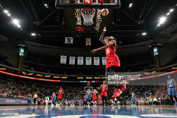 Shatori WalkerKimbrough of the Washington Mystics shoots a lay up during the game against the Minnesota Lynx on September 3 2017 at Xcel Energy...