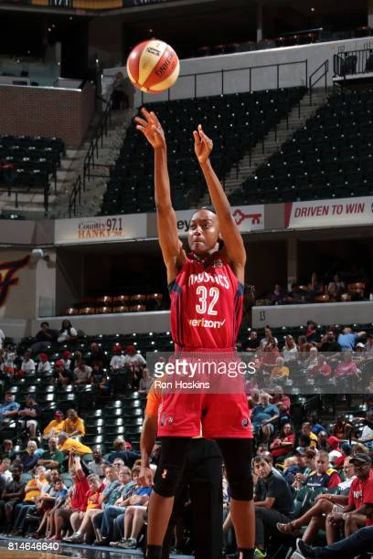 Shatori WalkerKimbrough of the Washington Mystics shoots the ball during the game against the Indiana Fever during a WNBA game on July 14 2017 at...