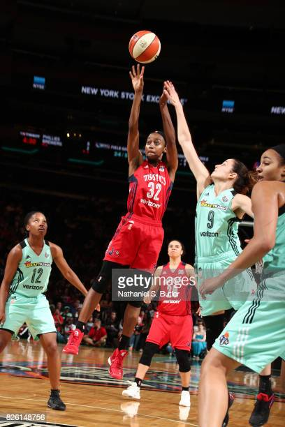 Shatori WalkerKimbrough of the Washington Mystics shoots the ball during the game against the New York Liberty on July 16 2017 at Madison Square...