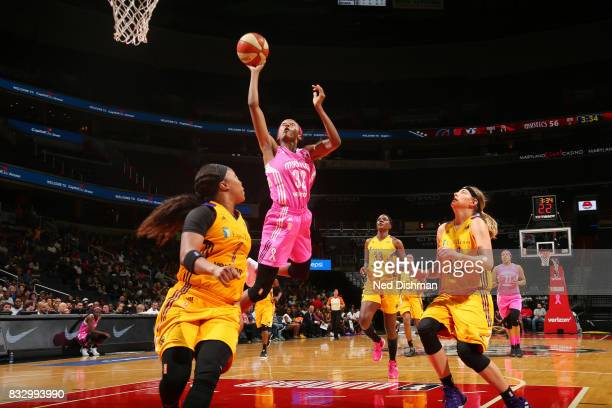 Shatori WalkerKimbrough of the Washington Mystics shoots the ball against the Los Angeles Sparks on August 16 2017 at the Verizon Center in...