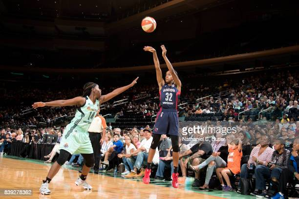 Shatori WalkerKimbrough of the Washington Mystics shoots the ball during the game against the New York Liberty in a WNBA game on August 25 2017 at...