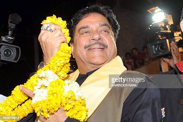 Shatrughan Sinha Indian Bollywood actor and Bharatiya Janata Party candidate for Patna parliamentary seat attends an election campaign event for...