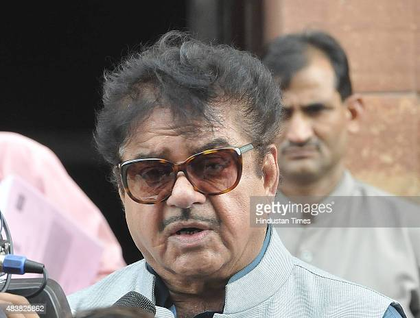 Shatrughan Sinha talking to the media after attending the Parliament Monsoon Session on August 13 2015 in New Delhi India The session was washed out...