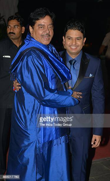Shatrughan Sinha with Bhushan Kumar at Wedding reception of Tulsi Kumar in Mumbai