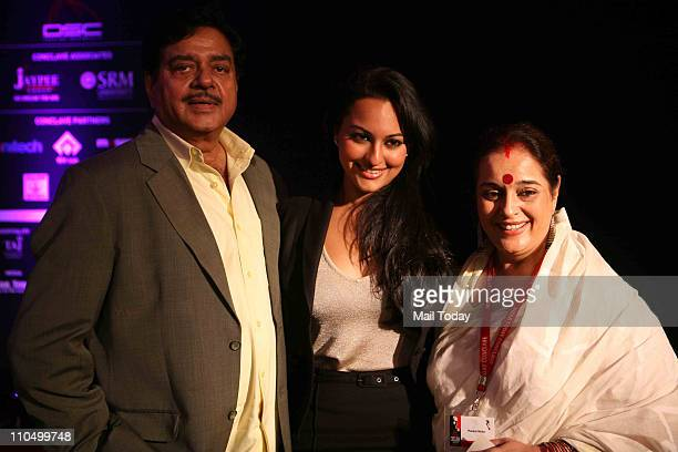Shatrughan Sinha with daughter Actress Sonakshi Sinha and wife Poonam Sinha during 10th India Today Conclave being held in the capital on March 1819...