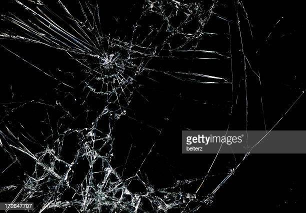 Shattered glass in dark background