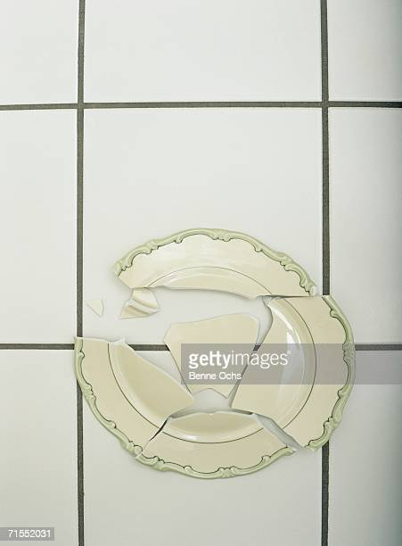 Shattered plate on floor