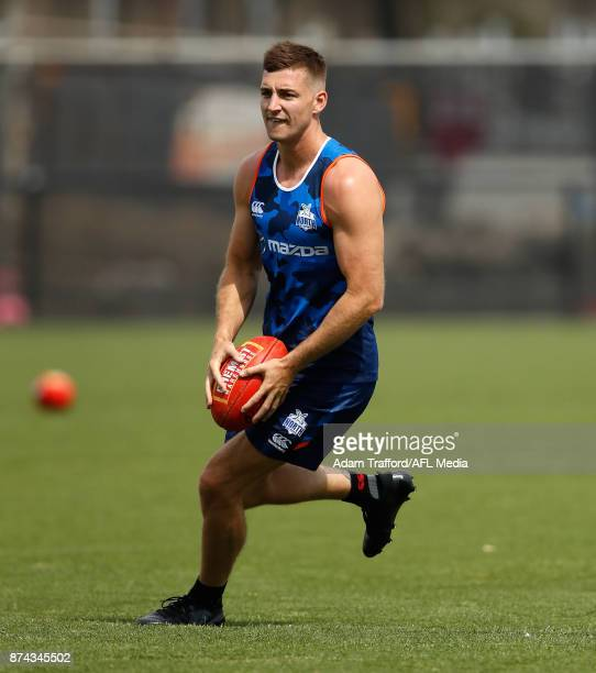 Shaun Atley of the Kangaroos in action during the North Melbourne Kangaroos training session at Arden St on November 15 2017 in Melbourne Australia