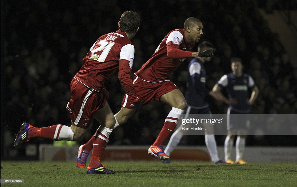 Shaun Batt of Leyton Orient celebrates after scoring the opening goal of the game during the Johnstone's Paint Trophy Southern Section Final match between Southend United and Leyton Orient at the Roots Hall Stadium on February 20, 2013 in Southend, England.