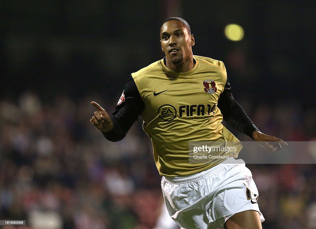 Shaun Batt of Leyton Orient celebrates after scoring the teams second goal of the game during the Sky Bet League Once match between Brentford and Leyton Orient at Griffin Park on September 23, 2013 in Brentford, England.