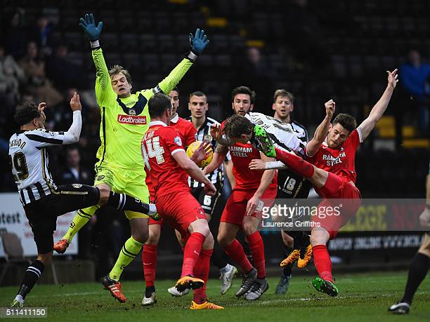 Shaun Brisley of Leyton Orient scores the opening goal past Roy Carroll of Notts County during the Sky Bet League Two match between Notts County and...