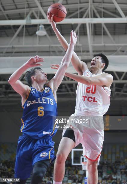 Shaun Bruce and Junfei Ren during the match between the Brisbane Bullets and China at the Gold Coast Sports Leisure Centre on July 18 2017 in Gold...