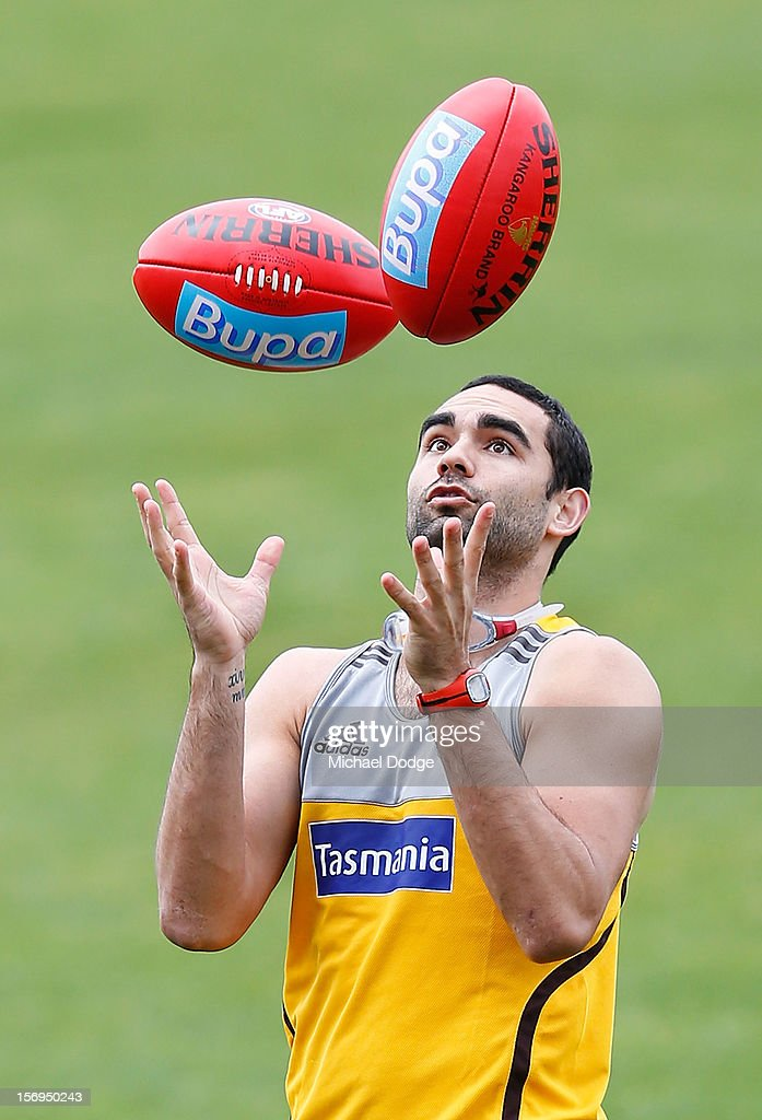 <a gi-track='captionPersonalityLinkClicked' href=/galleries/search?phrase=Shaun+Burgoyne&family=editorial&specificpeople=224566 ng-click='$event.stopPropagation()'>Shaun Burgoyne</a> juggles two balls during a Hawthorn Hawks pre-season AFL training session at Waverley Park on November 26, 2012 in Melbourne, Australia.