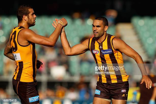 Shaun Burgoyne of the Hawks celebrates kicking a goal with Lance Franklin of the Hawks during the round eight AFL match between the Hawthorn Hawks...