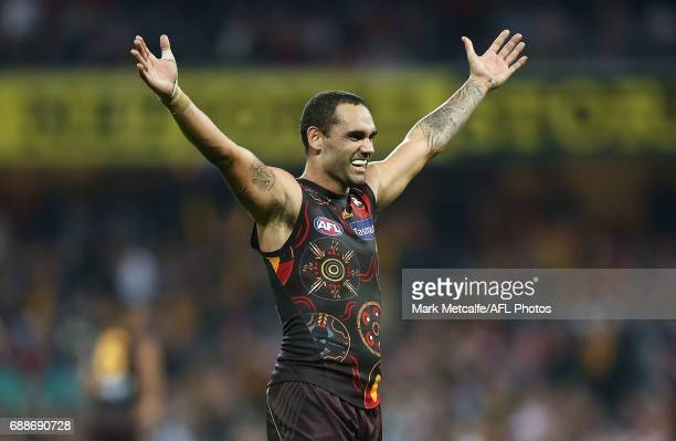 Shaun Burgoyne of the Hawks celebrates victory in the round 10 AFL match between the Sydney Swans and the Hawthorn Hawks at Sydney Cricket Ground on...