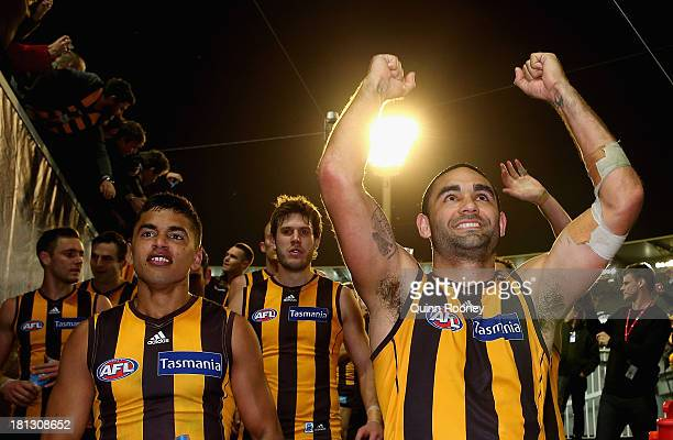 Shaun Burgoyne of the Hawks celebrates winning the AFL First Preliminary Final match between the Hawthorn Hawks and the Geelong Cats at Melbourne...