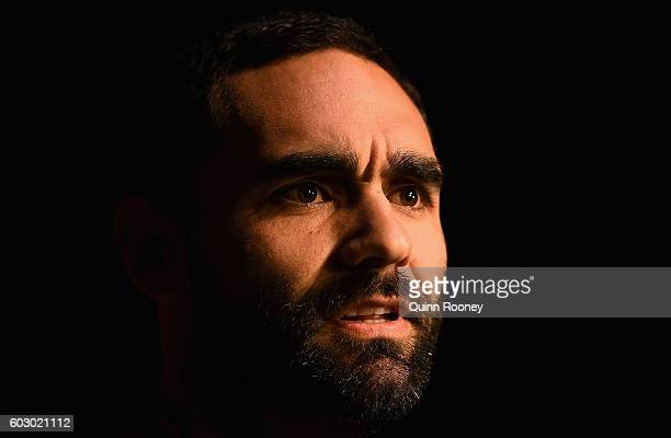 Shaun Burgoyne of the Hawks speaks to the media during a Hawthorn Hawks AFL media opportunity at Waverley Park on September 12 2016 in Melbourne...